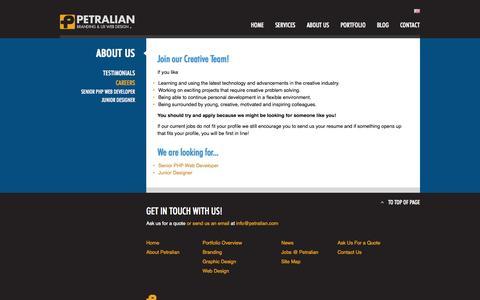 Screenshot of Jobs Page petralian.com - Careers - Petralian Web & Design Company, Guangzhou - captured Oct. 2, 2014