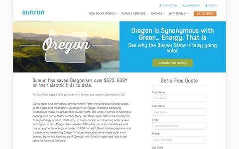 Screenshot of sunrun.com - Oregon Solar Panels & Home Solar Companies   Sunrun - captured March 19, 2016