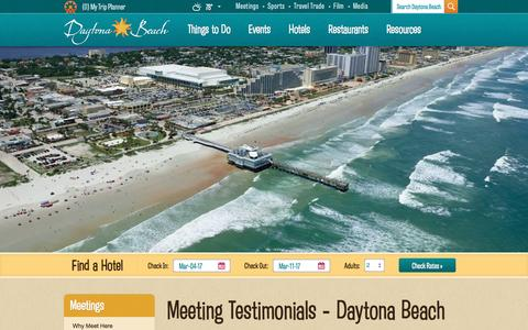 Screenshot of Testimonials Page daytonabeach.com - Daytona Beach Testimonials | Meetings and Events in Daytona - captured Feb. 25, 2017