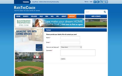 Screenshot of Contact Page ratethecoach.com - Contact Us - View, Rate, and Comment on College Coaches and Schools Nationwide | RateTheCoach.com - captured Oct. 9, 2014