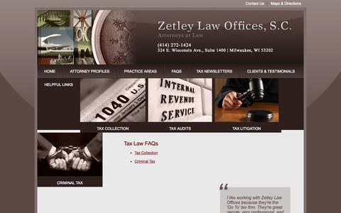Screenshot of FAQ Page zetleylaw.com - FAQs - Zetley Law Office, S.C. in Milwaukee, Wisconsin - captured Nov. 5, 2014