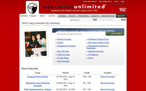 Screenshot of Locations Page educationunlimited.com - Camp Sessions – Education Unlimited - captured Sept. 19, 2014