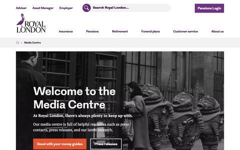 Screenshot of Press Page royallondon.com - Media Centre - Royal London - captured Nov. 22, 2018