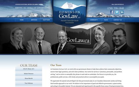 Screenshot of Team Page govlaw.ca - Our Team | Dominion GovLaw LLP - captured Oct. 5, 2014