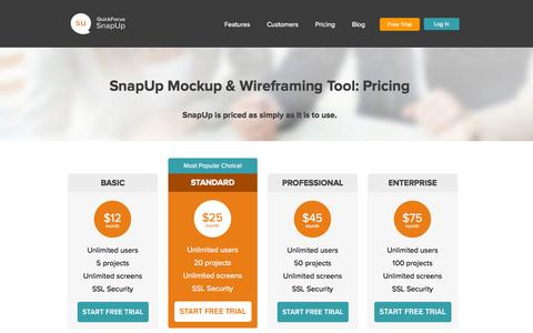 Screenshot of FAQ Page Pricing Page quickfocus.com - SnapUp Pricing Plans Try it Free and Upgrade for More Projects - captured Oct. 23, 2014