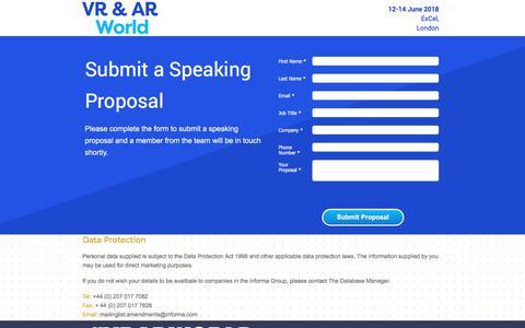 Screenshot of Landing Page knect365.com - VR & AR World Speaker proposal submissions - captured Oct. 29, 2017