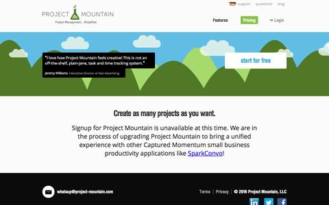 Screenshot of Signup Page Pricing Page project-mountain.com - Pricing | Project Mountain - Project Management Simplified for Small Businesses - captured Nov. 14, 2016