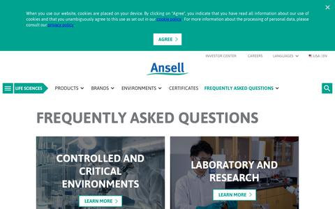 Screenshot of FAQ Page ansell.com - FAQ Overview - captured Nov. 28, 2018