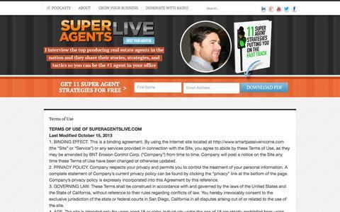 Screenshot of Terms Page superagentslive.com - Terms of Use | Super Agents Live - captured Sept. 19, 2014