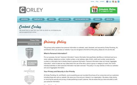 Screenshot of Privacy Page corleypro.com - Corley | Privacy Policy - captured Oct. 3, 2014
