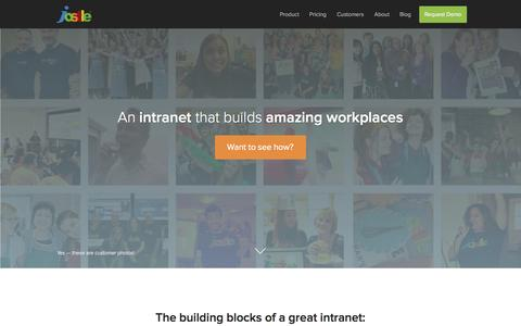 Screenshot of Home Page jostle.me - Cloud-Based Intranet Software for Employee Engagement | Jostle - captured Sept. 16, 2014