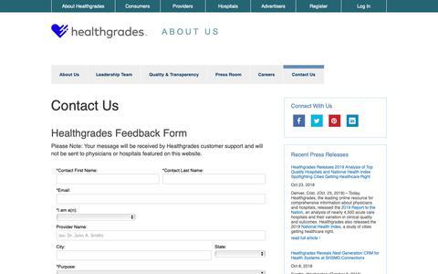 Screenshot of Contact Page healthgrades.com - Contact Us - Healthgrades Feedback Form | Healthgrades.com - captured Nov. 10, 2018