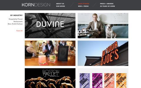 Screenshot of Case Studies Page korndesign.com - Case Studies | Korn Design - captured Sept. 20, 2018