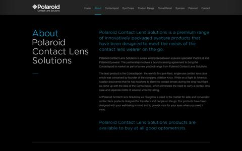 Screenshot of About Page polaroidcontactlenssolutions.com - About Polaroid - Polaroid Contact Lens Solutions - captured Oct. 26, 2014