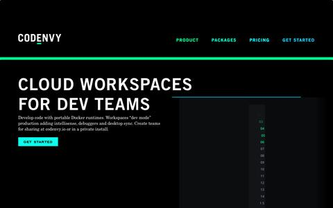 Screenshot of Home Page codenvy.com - Codenvy | Cloud Workspaces for Development Teams - captured March 18, 2017