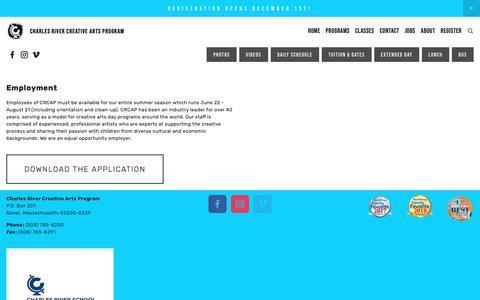 Screenshot of Jobs Page crcap.org - Teach at CRCAP — Charles River Creative Arts Program - captured Dec. 1, 2018
