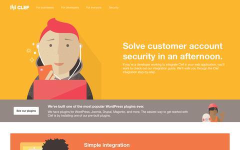 Screenshot of Developers Page getclef.com - Developer   Clef - captured July 8, 2017
