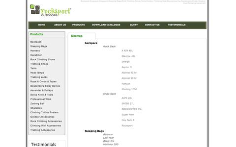 Screenshot of Site Map Page rocksportoutdoors.com - Backpack,Knapsack,Knapsack,Sleeping Bags,Rock Climbing Shoes,Tents - captured April 15, 2016
