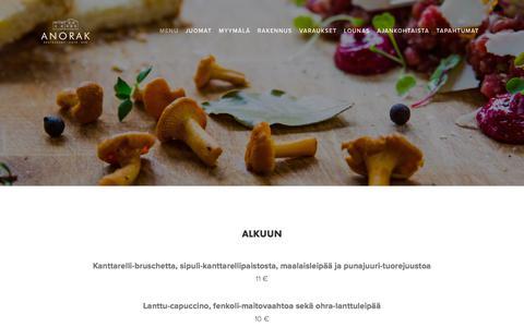 Screenshot of Menu Page anorak.fi - MENU — Anorak - captured Sept. 25, 2018