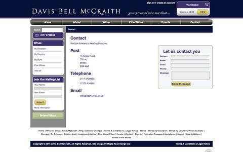 Screenshot of Contact Page dbmwines.co.uk - Contact » Davis Bell McCraith Wines » Your Personal Wine Merchant - captured Oct. 5, 2014