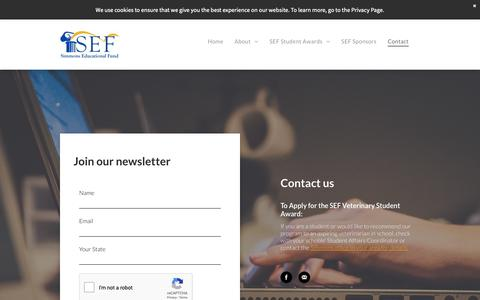 Screenshot of Contact Page simmonsedfund.org - Business Education for Veterinary Professionals - captured Oct. 23, 2018