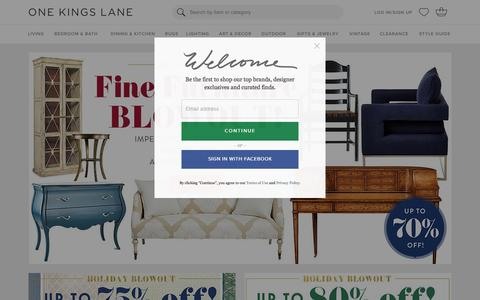 Screenshot of Login Page onekingslane.com - Furniture, Sofas, Rugs, Bedding, Home Decor | One Kings Lane - captured Dec. 31, 2015
