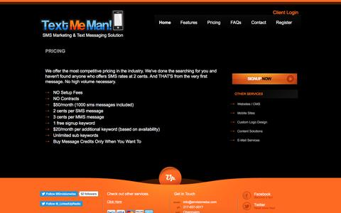 Screenshot of Pricing Page textmeman.com - TextMeMan - captured Dec. 8, 2017