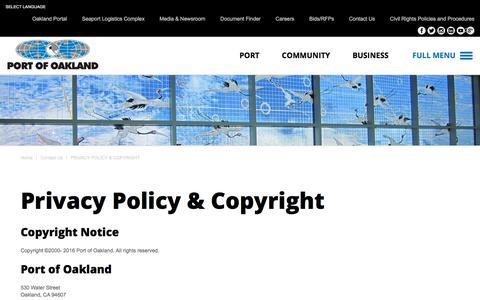 Screenshot of Privacy Page portofoakland.com - Privacy Policy & Copyright | Port of Oakland - captured July 19, 2018