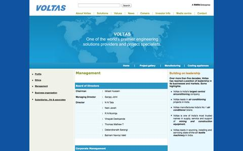 Screenshot of Team Page voltas.com - Electro-Mechanical Solutions   Engineering Solutions Providers    Cooling Appliances - captured Sept. 24, 2014