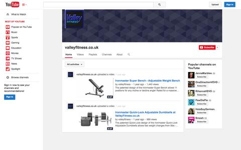 Screenshot of YouTube Page youtube.com - valleyfitness.co.uk  - YouTube - captured Oct. 27, 2014