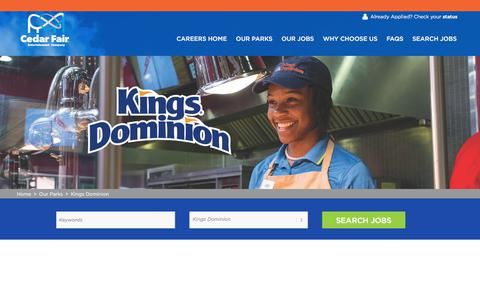 Screenshot of Jobs Page cedarfair.com - Fun Jobs at Kings Dominion  Search Park Jobs and Apply Online Now - captured July 13, 2018