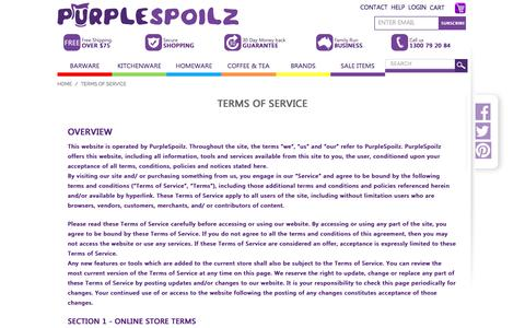 Screenshot of Terms Page purplespoilz.com.au - Terms of Service Policy – PurpleSpoilz Australia - captured May 24, 2017
