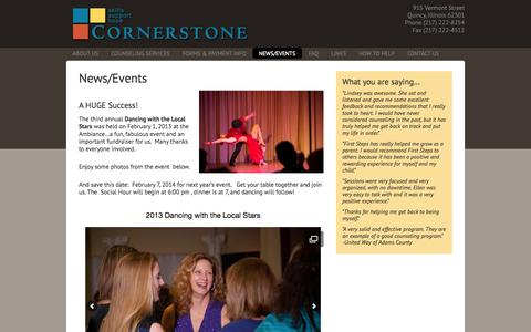 Screenshot of Press Page cornerstone-quincy.org - News/Events - captured Oct. 3, 2014