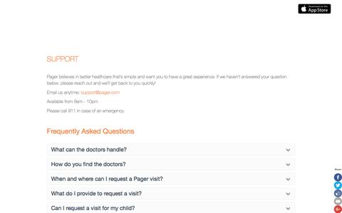 Screenshot of Support Page getpager.com - Frequently Asked Questions and Contact information | Pager - captured Dec. 18, 2015