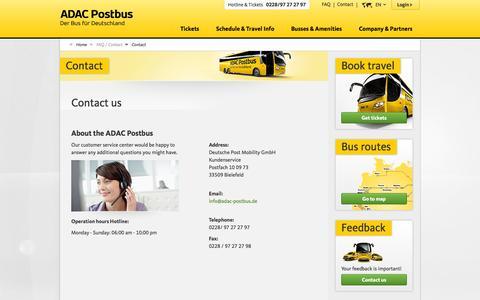 Screenshot of Contact Page adac-postbus.de - ADAC Postbus | Contact | Bus & Fernbus - Busreisen günstig durch Deutschland - captured Nov. 2, 2014