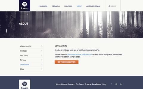 Screenshot of Developers Page atosho.com - Atosho - captured Sept. 13, 2014