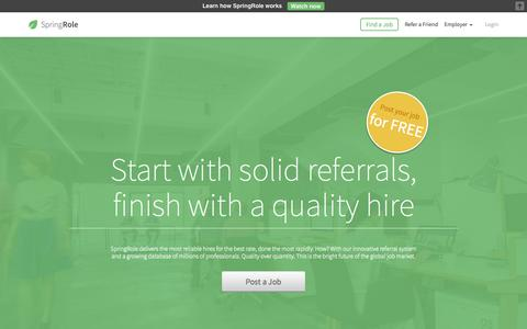 Screenshot of Home Page springrole.com - SpringRole- Marketplace for Recruiting - captured June 18, 2015