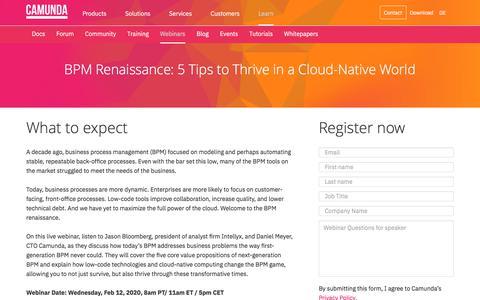 Screenshot of Signup Page camunda.com - Camunda Webinar - BPM Renaissance: 5 Tips to Thrive in a Cloud-Native World   Camunda BPM - captured Feb. 4, 2020