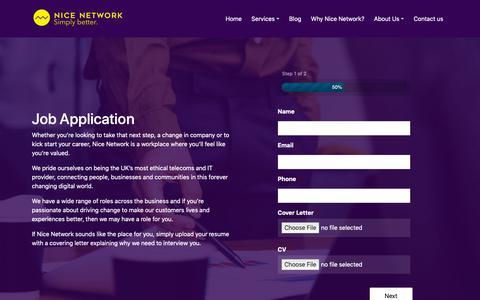 Screenshot of Jobs Page nicenetwork.uk - Job Application - Nice Network. Simply Better - captured June 13, 2019