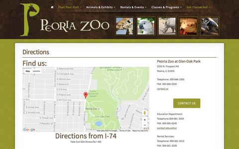 Screenshot of Maps & Directions Page peoriazoo.org - Peoria Zoo Directions - Peoria Zoo - captured Nov. 1, 2016