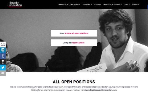 Screenshot of Jobs Page boardofinnovation.com - Jobs: Business Designer/ Innovation Consultant - Change Agent - captured June 9, 2016