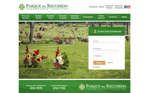 Screenshot of Login Page parquedelrecuerdo.org - Parque del Recuerdo | Acceso al Contratantes - captured July 11, 2016