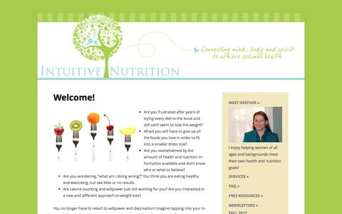 Screenshot of Home Page intuitive-nutrition.com - Welcome to Intuitive-Nutrition - captured June 21, 2016
