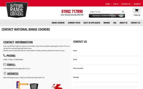 Screenshot of Contact Page nationalrangecookers.co.uk - Contact National Range Cookers - captured July 11, 2018