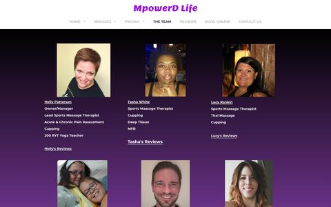 Screenshot of Team Page mpowerdmassageforathletes.com - MpowerD Massage Staff - MpowerD Life - captured Sept. 21, 2018