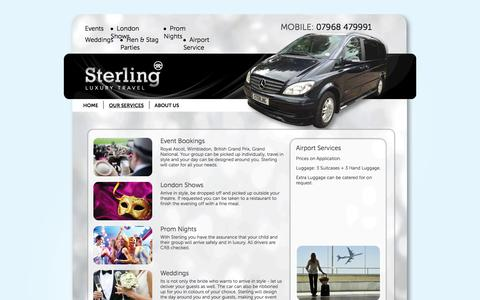 Screenshot of Services Page sterlingluxurytravel.co.uk - Sterling Luxury Travel - Chauffeur Services Market Harborough - captured Feb. 16, 2016