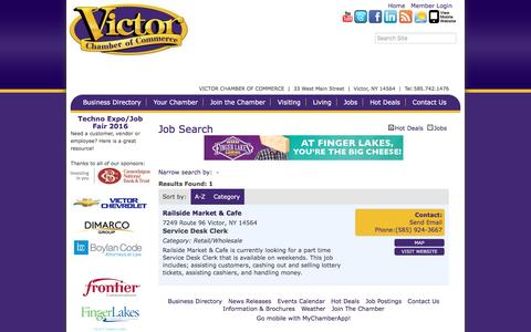 Screenshot of Jobs Page victorchamber.com - Job Search - Victor Chamber of Commerce,NY - captured Dec. 21, 2016
