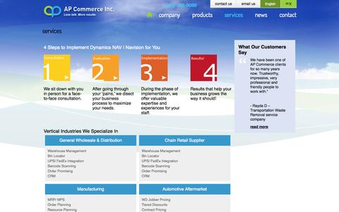 Screenshot of Services Page apcommerce.com - services | AP Commerce - captured Oct. 4, 2014