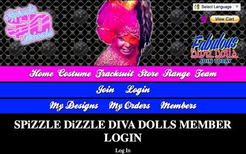 Screenshot of Login Page spizzledizzle.com - DIVA DOLLS MEMBER LOGIN - SPiZZLE DiZZLE DANCEWEAR MOBILE - captured Oct. 6, 2014