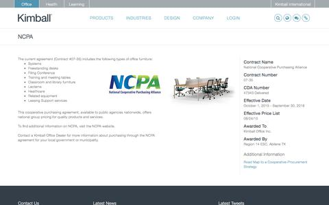 Screenshot of kimball.com - NCPA - Kimball - captured Sept. 14, 2017